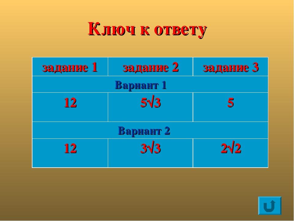 Ключ к ответу задание 1 задание 2 задание 3 Вариант 1 12 5√3 5 Вариант 2 12 3...