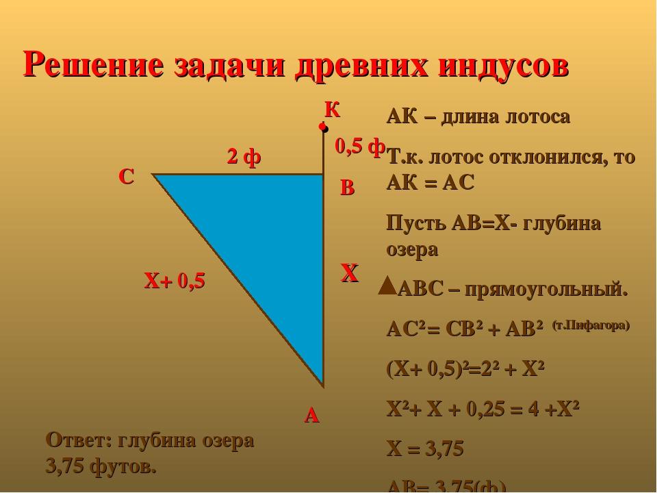 Решение задачи древних индусов 0,5 ф 2 ф Х Х+ 0,5 А В С К . АК – длина лотоса...
