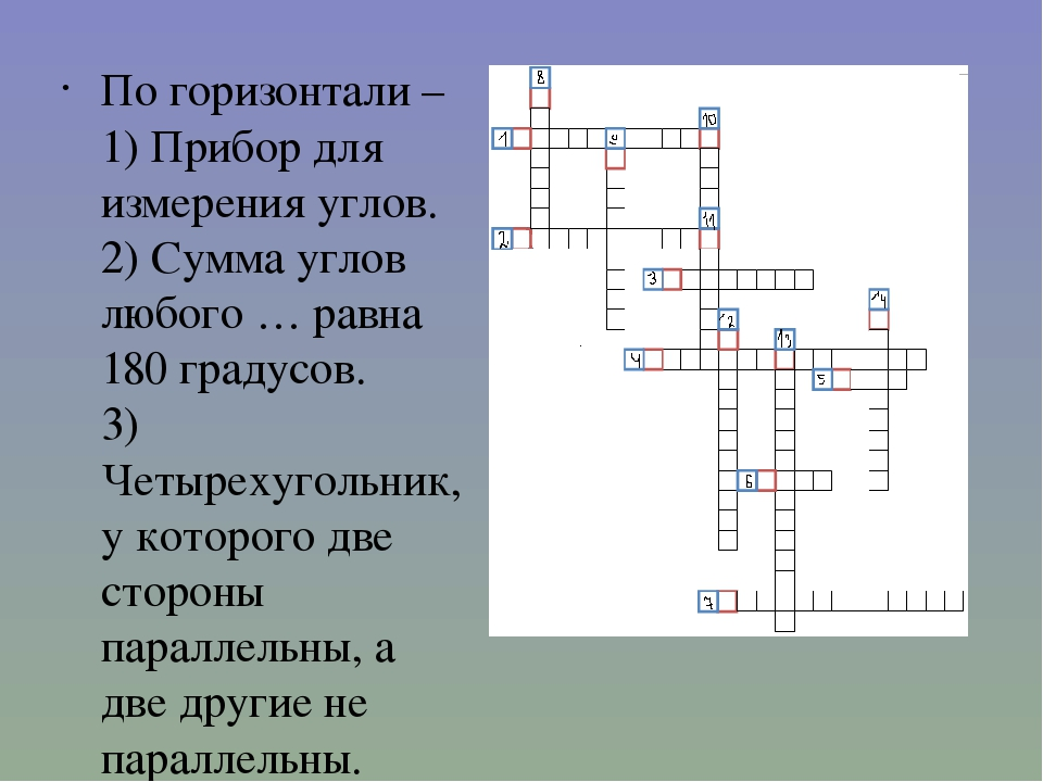 По горизонтали – 1) Прибор для измерения углов. 2) Сумма углов любого … равна...
