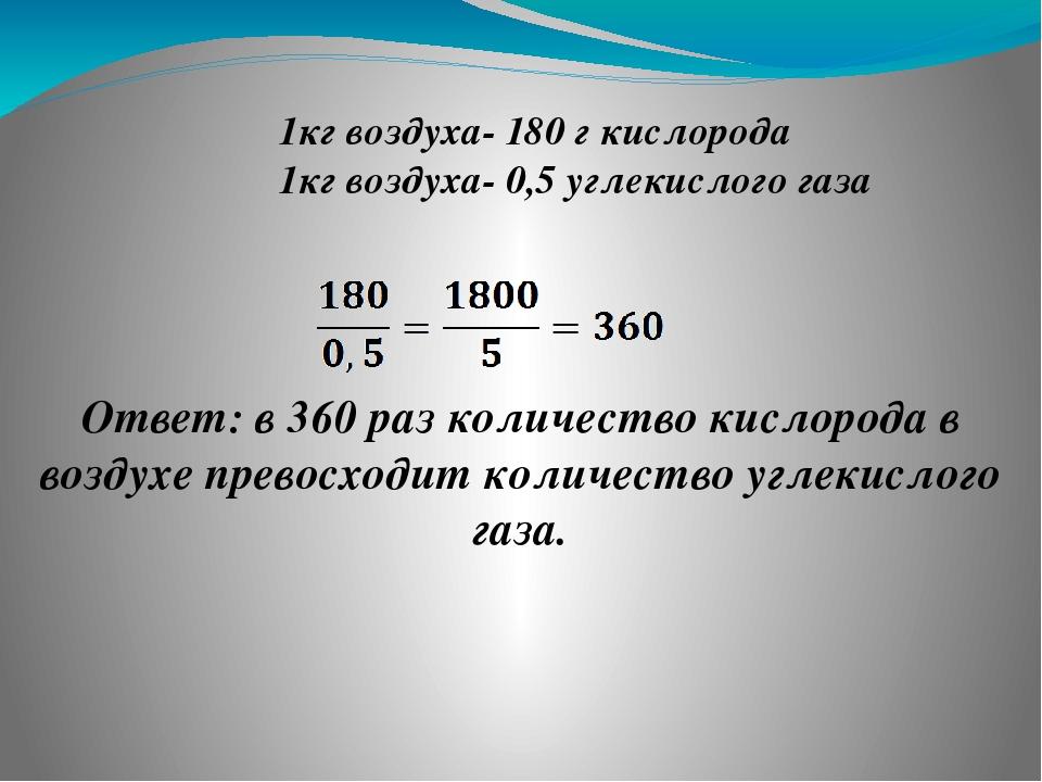 ❶ 1кг воздуха- 180 г кислорода 1кг воздуха- 0,5 углекислого газа Ответ: в 360...
