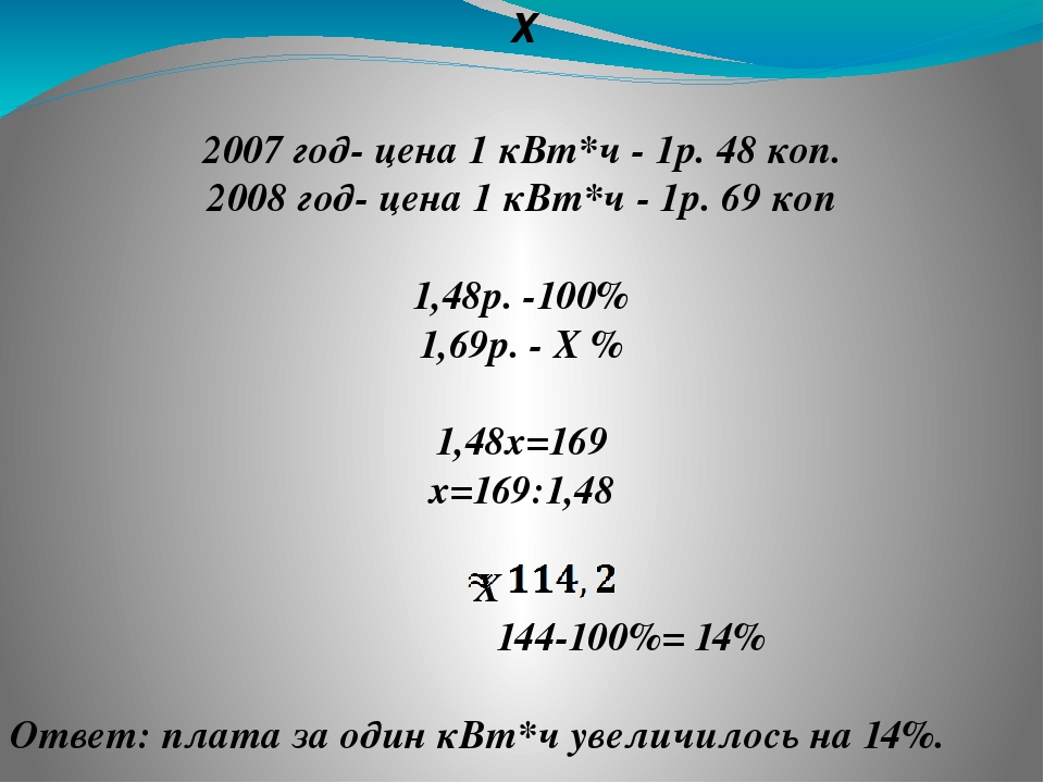 ❷ 2007 год- цена 1 кВт*ч - 1р. 48 коп. 2008 год- цена 1 кВт*ч - 1р. 69 коп 1,...