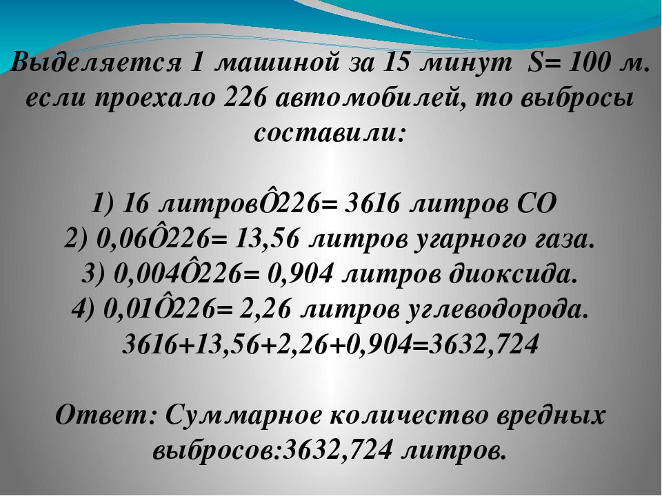 Выделяется 1 машиной за 15 минут S= 100 м. если проехало 226 автомобилей, то...