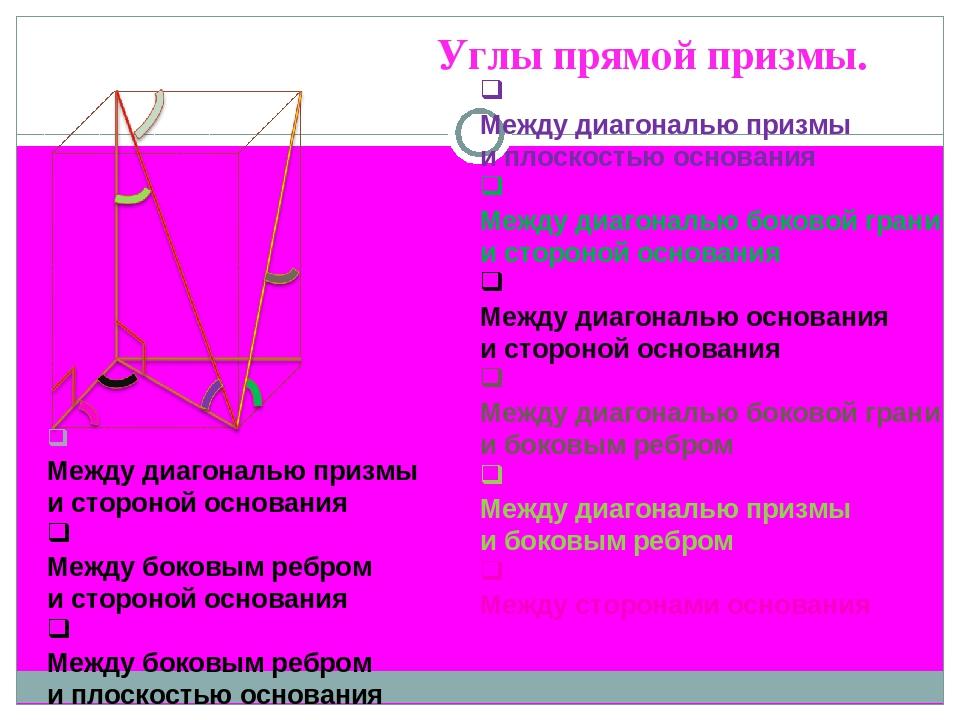 Углы прямой призмы. Между диагональю призмы и плоскостью основания Между диаг...