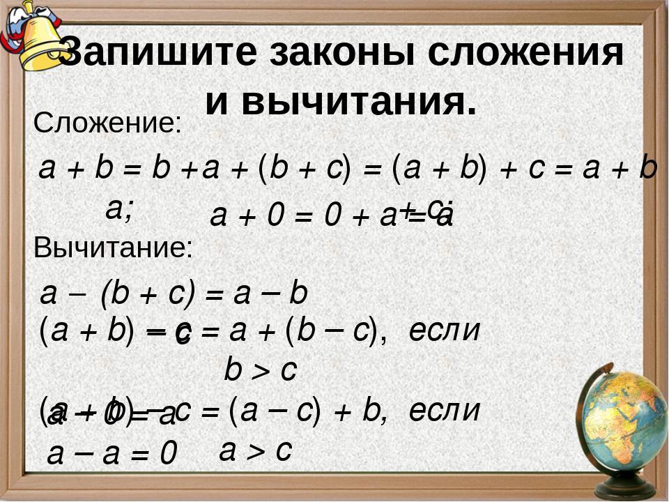 Запишите законы сложения и вычитания. Сложение: Вычитание: а + b = b + a; а +...