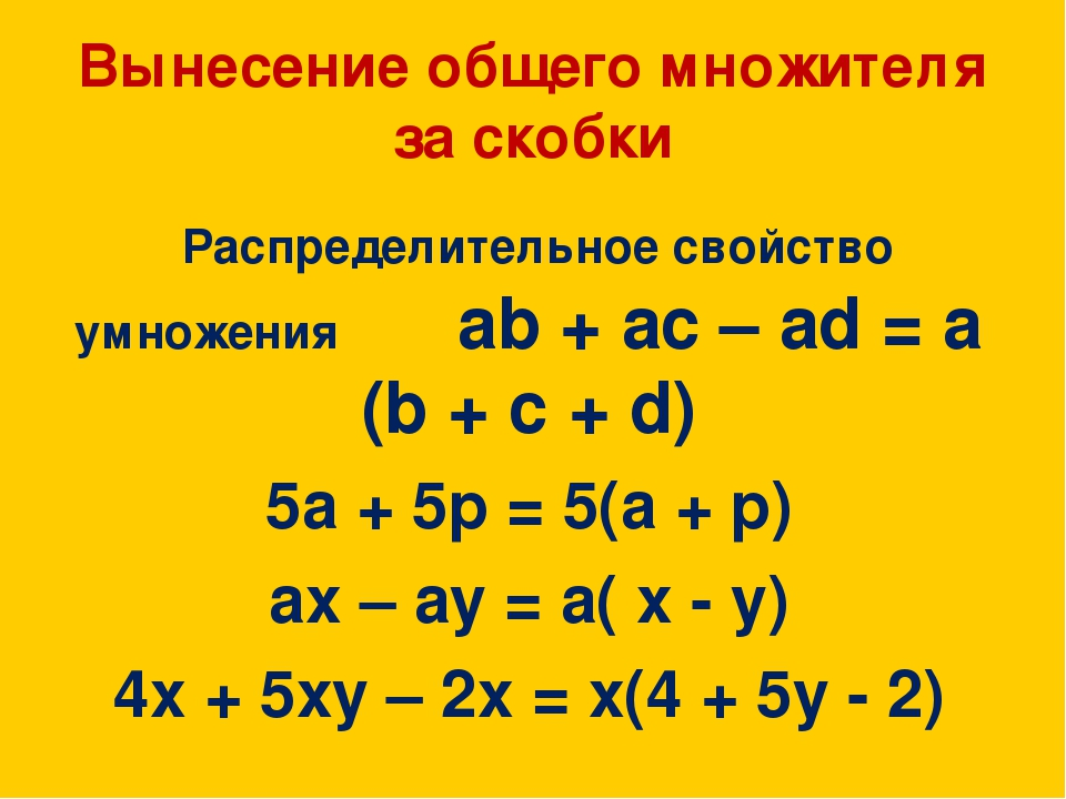 Вынесение общего множителя за скобки Распределительное свойство умножения ab...