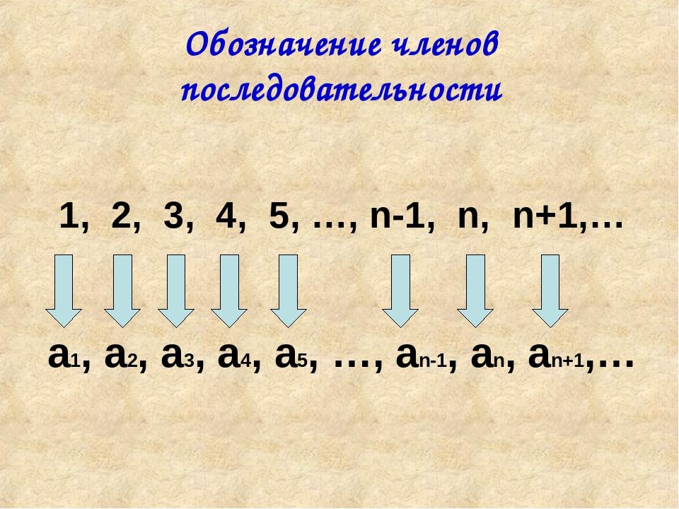 Обозначение членов последовательности 1, 2, 3, 4, 5, …, n-1, n, n+1,… a1, a2,...