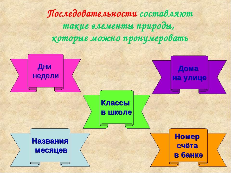 Последовательности составляют такие элементы природы, которые можно пронумеро...