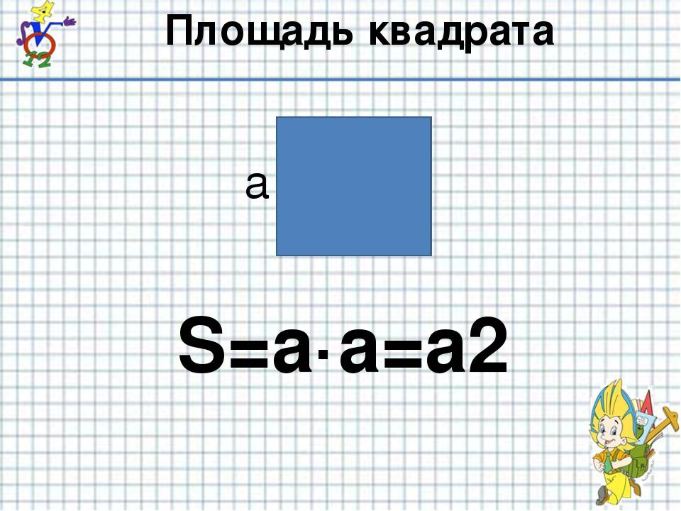 Площадь квадрата S=a·a=a2 а