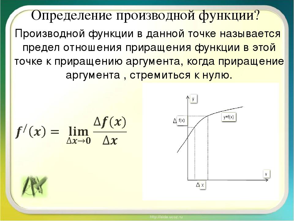 Определение производной функции? Производной функции в данной точке называетс...