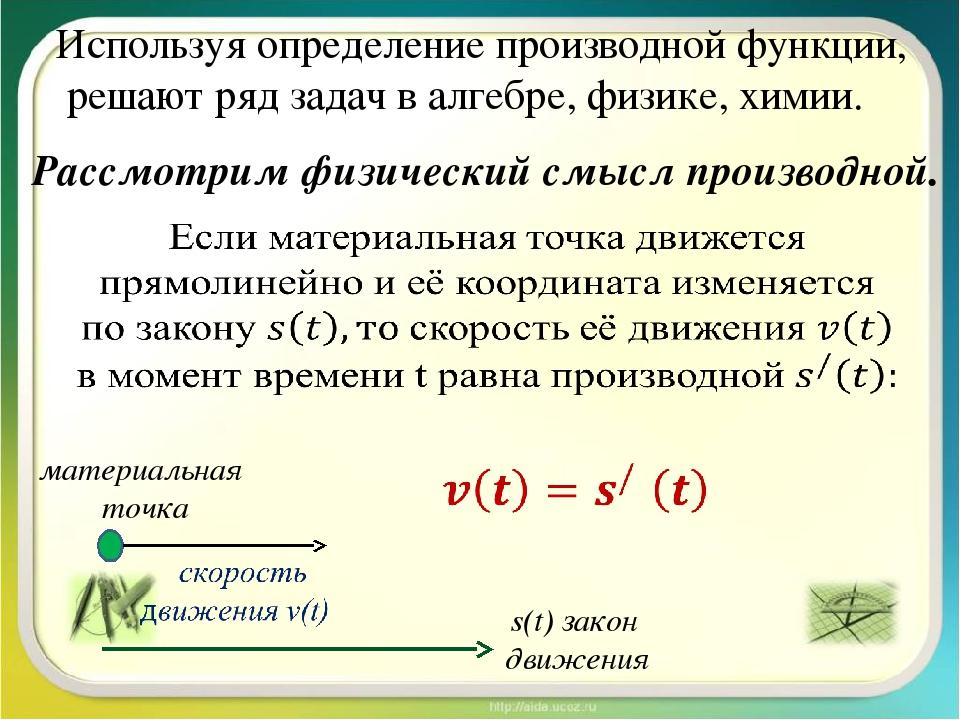 Используя определение производной функции, решают ряд задач в алгебре, физике...