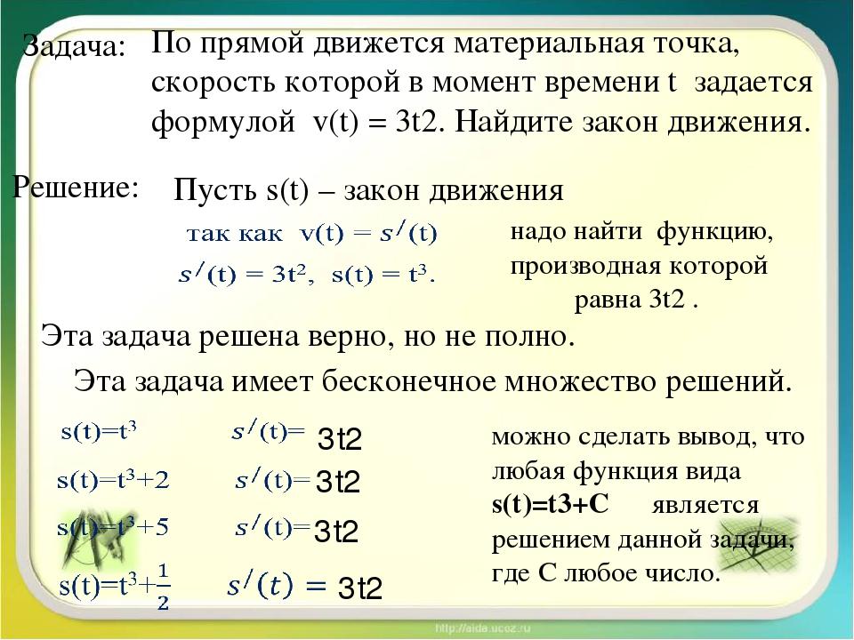 Задача: По прямой движется материальная точка, скорость которой в момент врем...
