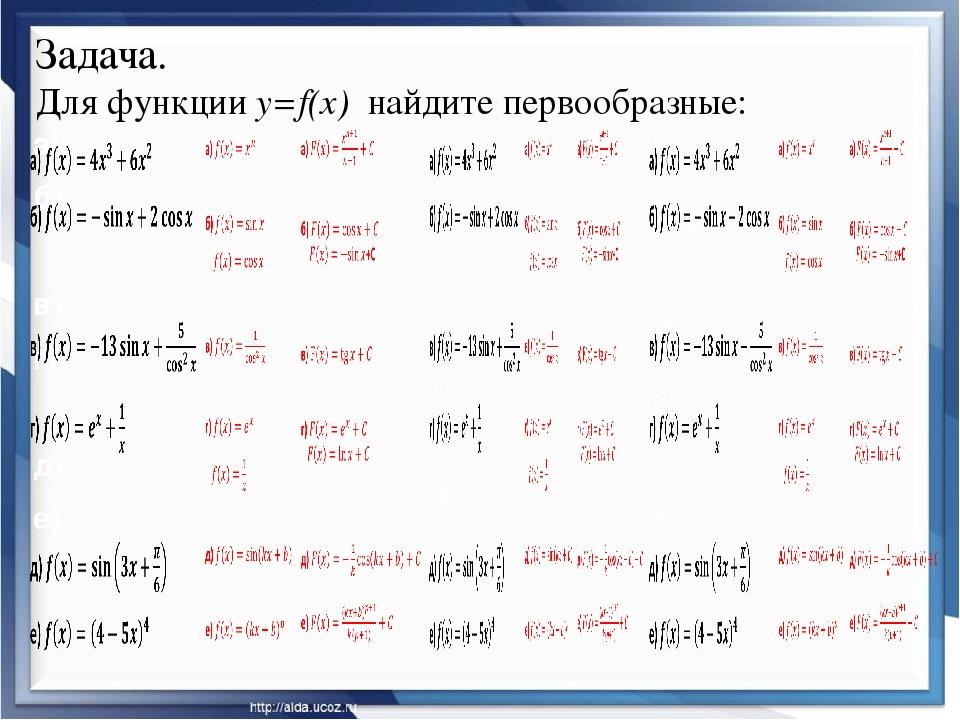 Задача. Для функции y=f(x) найдите первообразные: