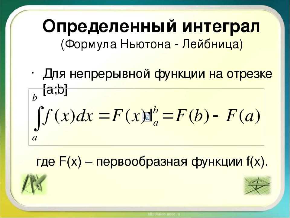Определенный интеграл (Формула Ньютона - Лейбница) Для непрерывной функции на...