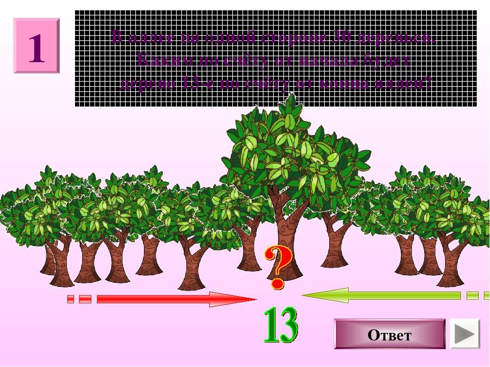 1 В аллее на одной стороне 30 деревьев. Каким по счёту от начала будет дерево...
