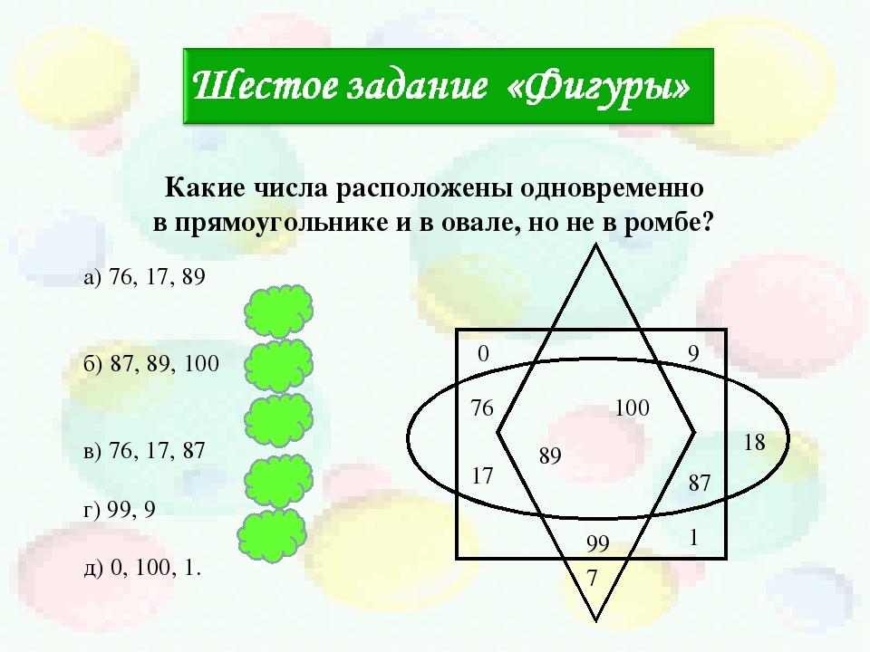 100 89 17 9 99 18 87 7 0 1 76 Какие числа расположены одновременно в прямоуго...