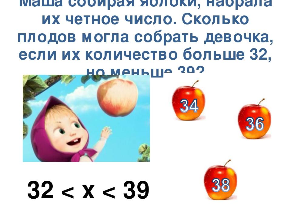 Маша собирая яблоки, набрала их четное число. Сколько плодов могла собрать де...
