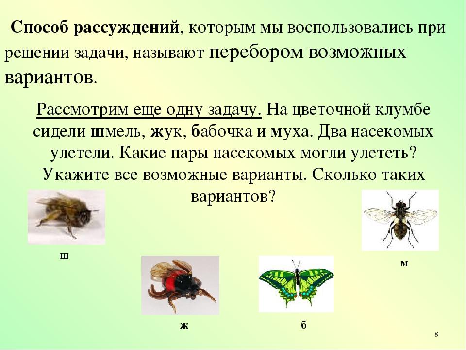 Рассмотрим еще одну задачу. На цветочной клумбе сидели шмель, жук, бабочка и...
