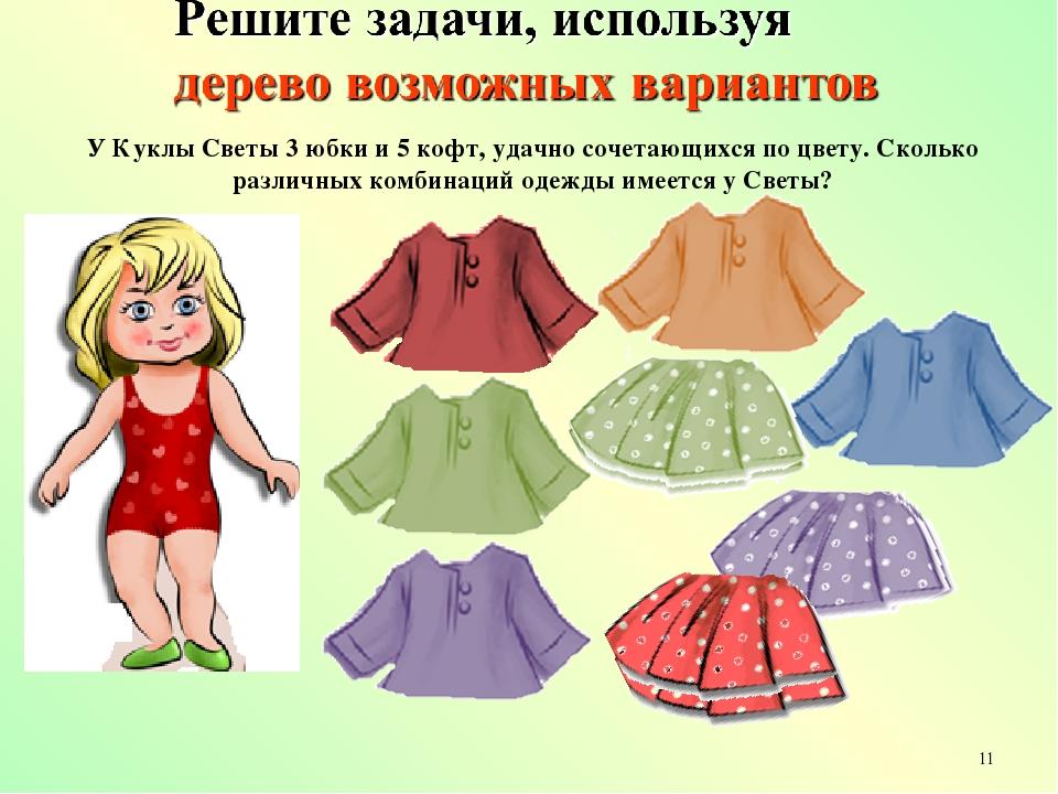 У Куклы Светы 3 юбки и 5 кофт, удачно сочетающихся по цвету. Сколько различны...