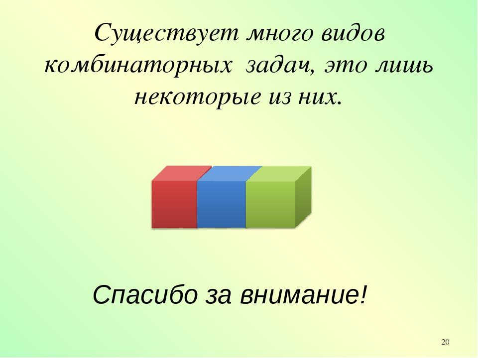 Существует много видов комбинаторных задач, это лишь некоторые из них. Спасиб...