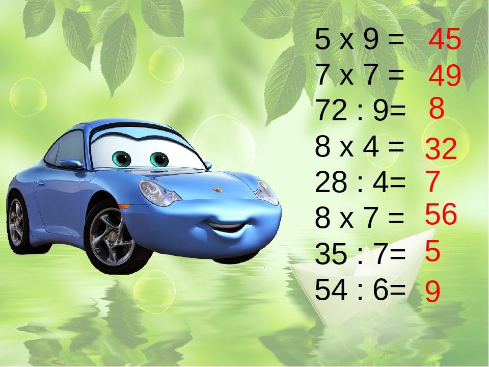 5 х 9 = 7 х 7 = 72 : 9= 8 х 4 = 28 : 4= 8 х 7 = 35 : 7= 54 : 6= 45 49 8 32 7...