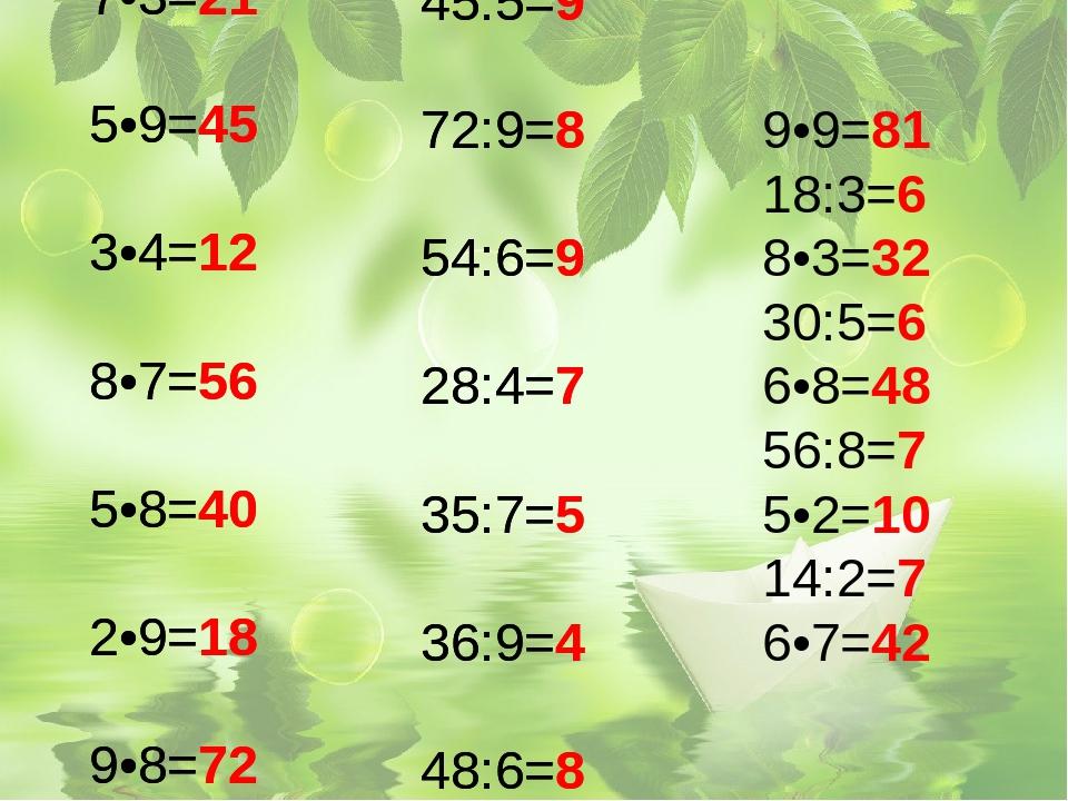 4•6=24 7•3=21 5•9=45 3•4=12 8•7=56 5•8=40 2•9=18 9•8=72 7•7=49 21:7=3 45:5=9...