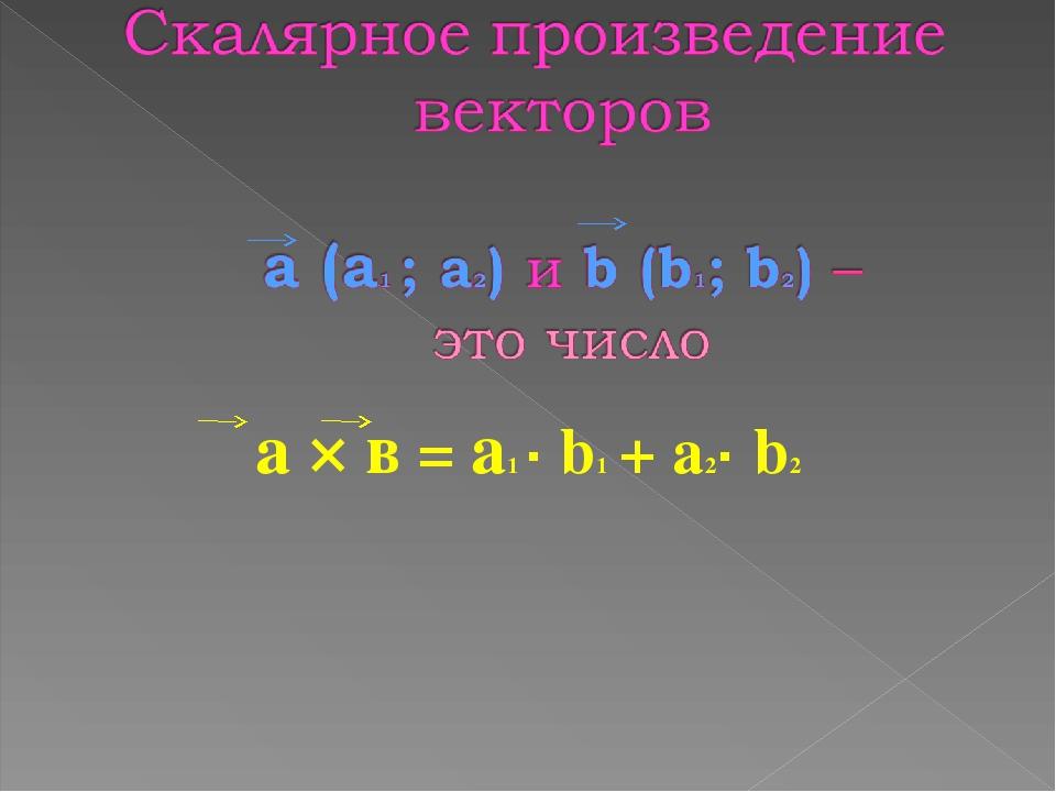 а × в = а1 · b1 + а2· b2
