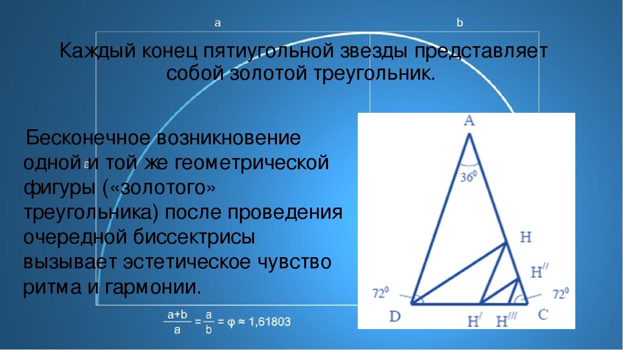Каждый конец пятиугольной звезды представляет собой золотой треугольник. Бе...