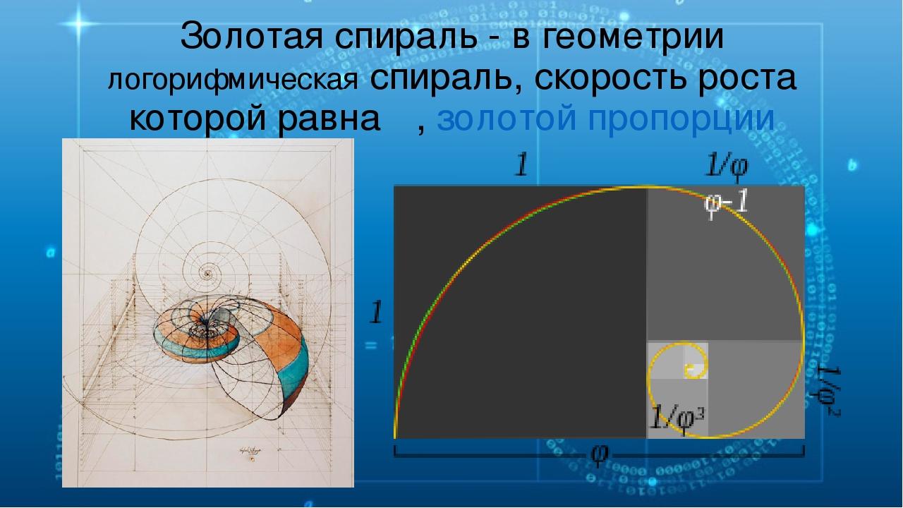 Золотая спираль - вгеометрии логорифмическая спираль, скорость роста которой...