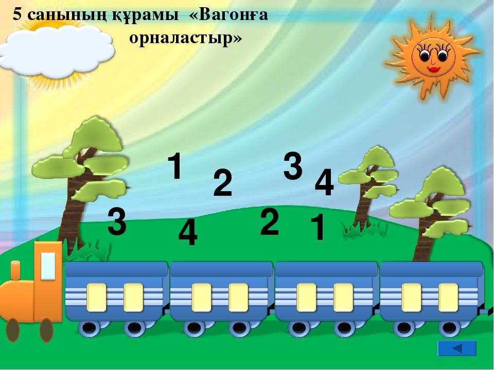 5 санының құрамы «Вагонға орналастыр» 3 3 1 1 2 2 4 4