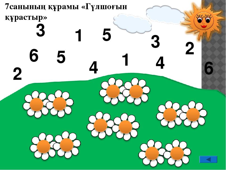 7санының құрамы «Гүлшоғын құрастыр» 4 1 2 6 6 4 1 3 5 5 2 3