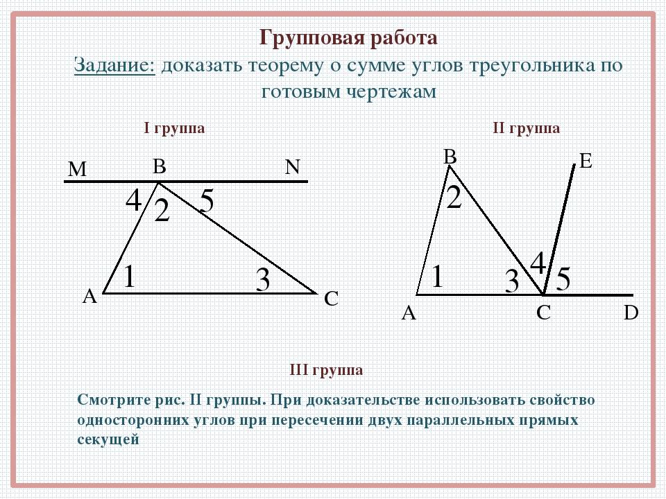 Групповая работа Задание: доказать теорему о сумме углов треугольника по гото...