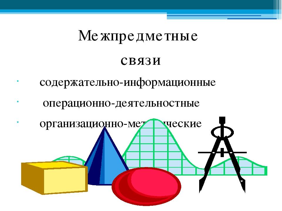 Межпредметные связи содержательно-информационные операционно-деятельностные о...