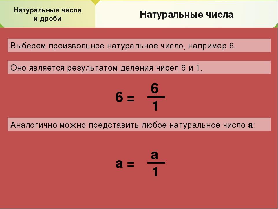 Натуральные числа и дроби Натуральные числа Выберем произвольное натуральное...