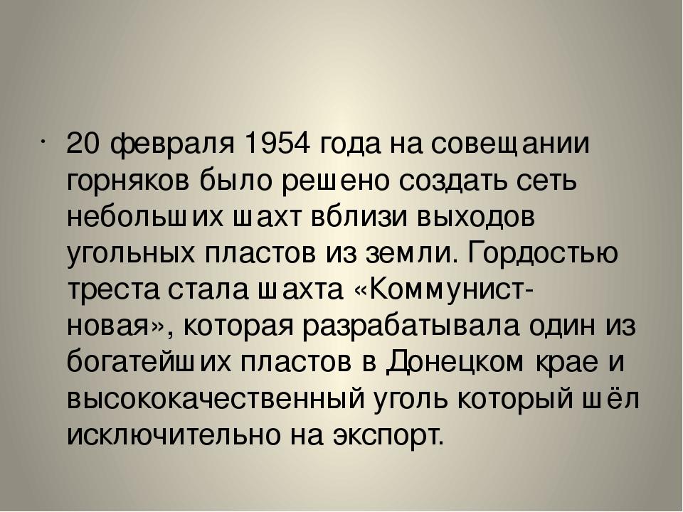 20 февраля 1954 года на совещании горняков было решено создать сеть небольших...