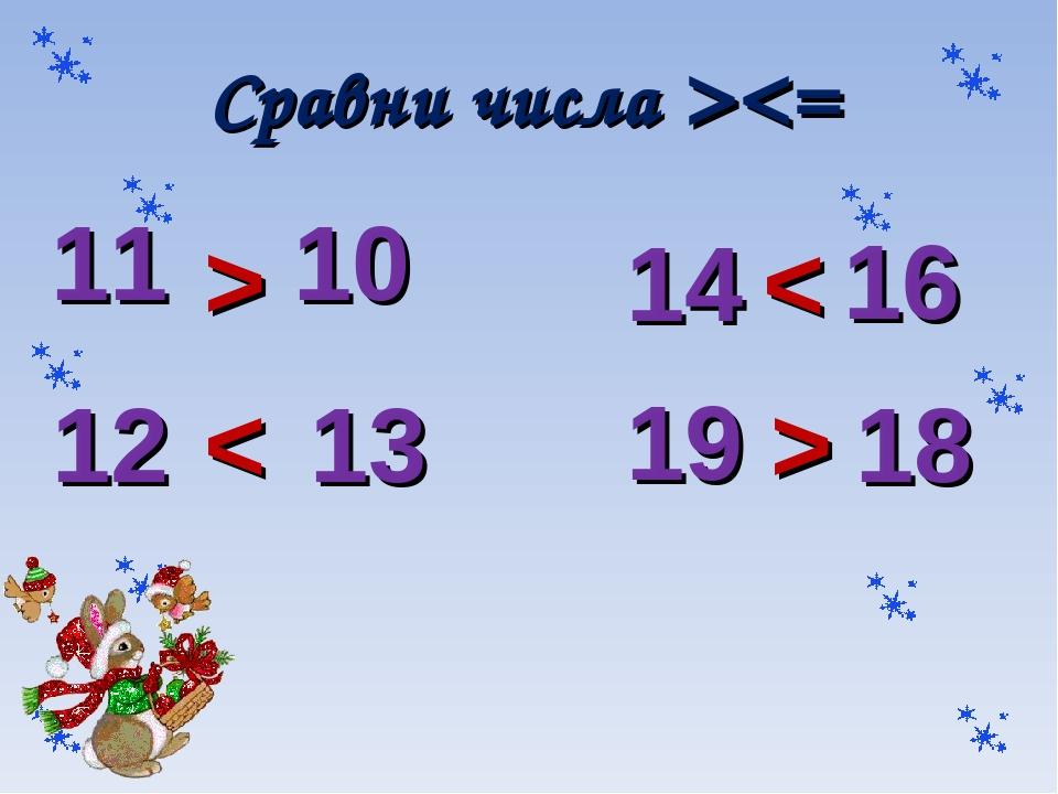 Сравни числа > >