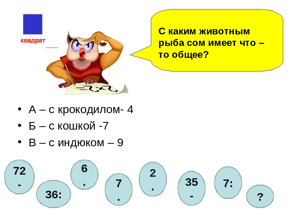 А – с крокодилом- 4 Б – с кошкой -7 В – с индюком – 9 С каким животным рыба с...