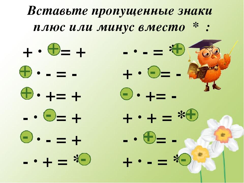 Вставьте пропущенные знаки плюс или минус вместо * : + · * = + * · - = - * ·...
