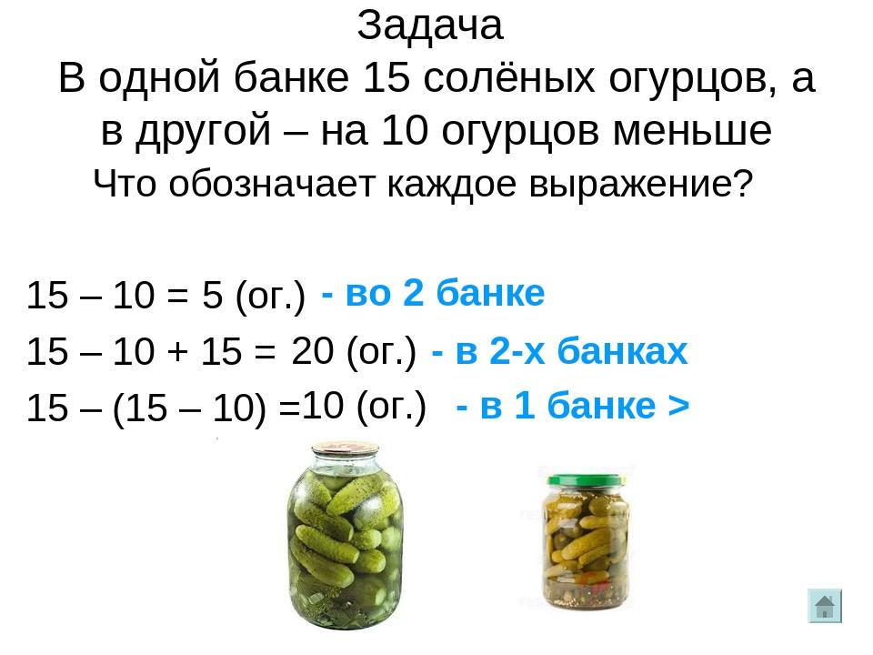 Задача В одной банке 15 солёных огурцов, а в другой – на 10 огурцов меньше Чт...