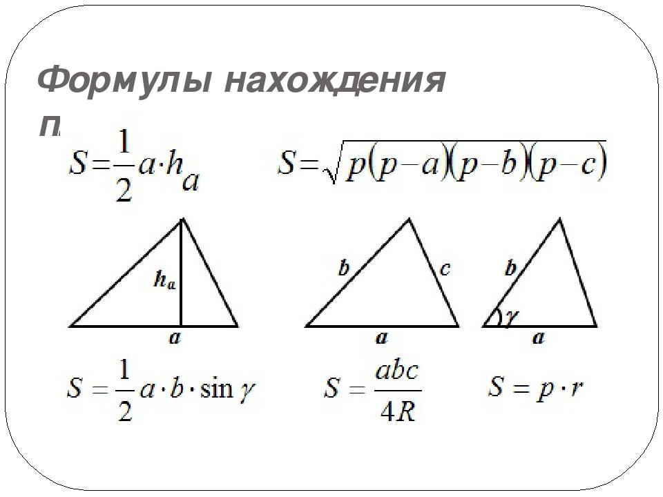 Формулы нахождения площади треугольника: