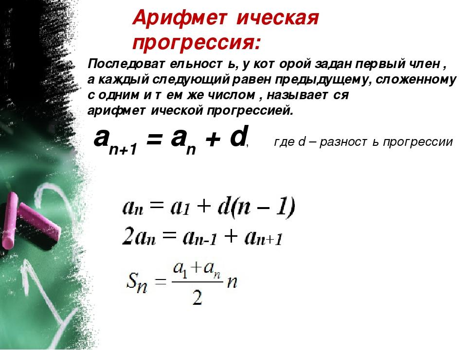 Арифметическая прогрессия: Последовательность, у которой задан первый член ,...