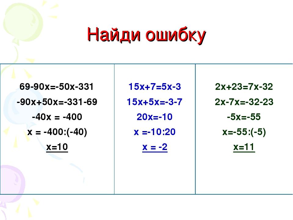 Найди ошибку 69-90х=-50х-331 -90х+50х=-331-69 -40х = -400 х = -400:(-40) х=10...