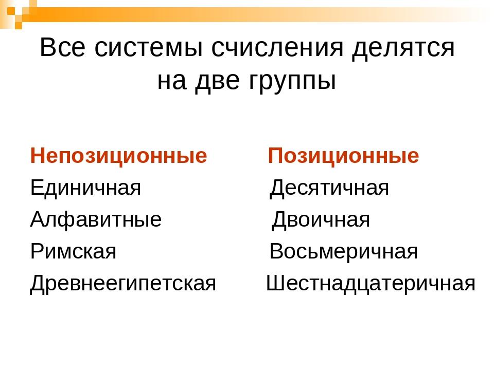 Все системы счисления делятся на две группы Непозиционные Позиционные Единичн...