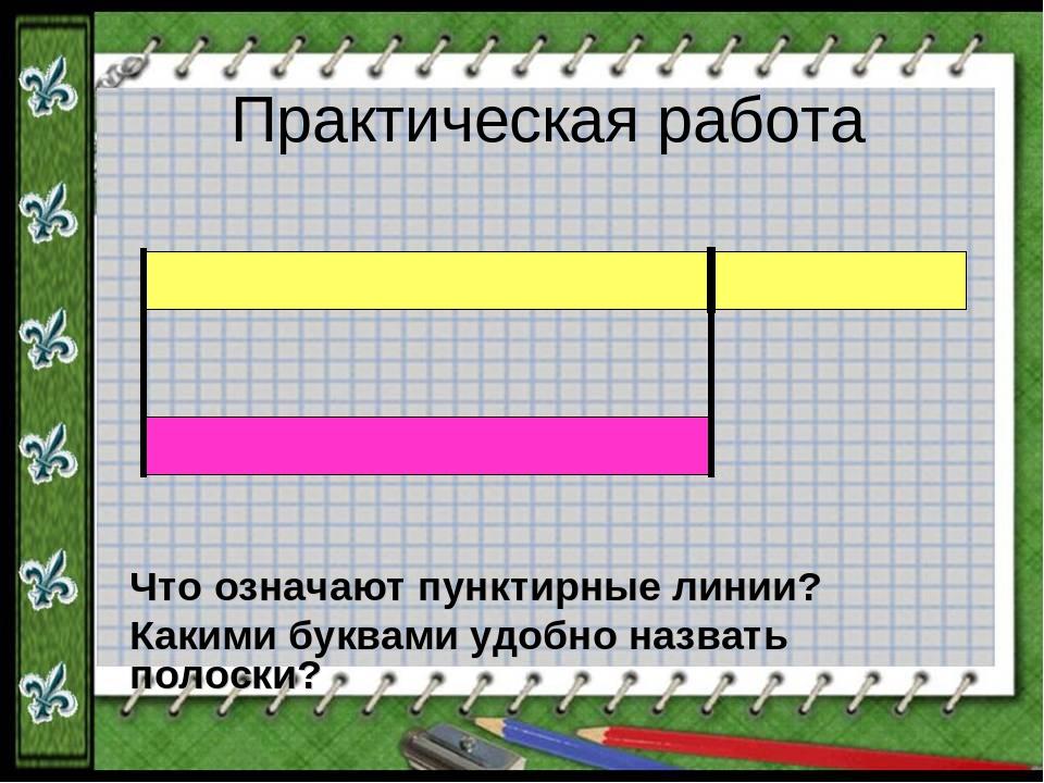 Практическая работа Что означают пунктирные линии? Какими буквами удобно назв...