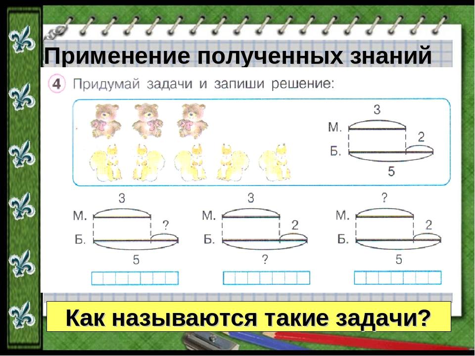 Применение полученных знаний Как называются такие задачи?