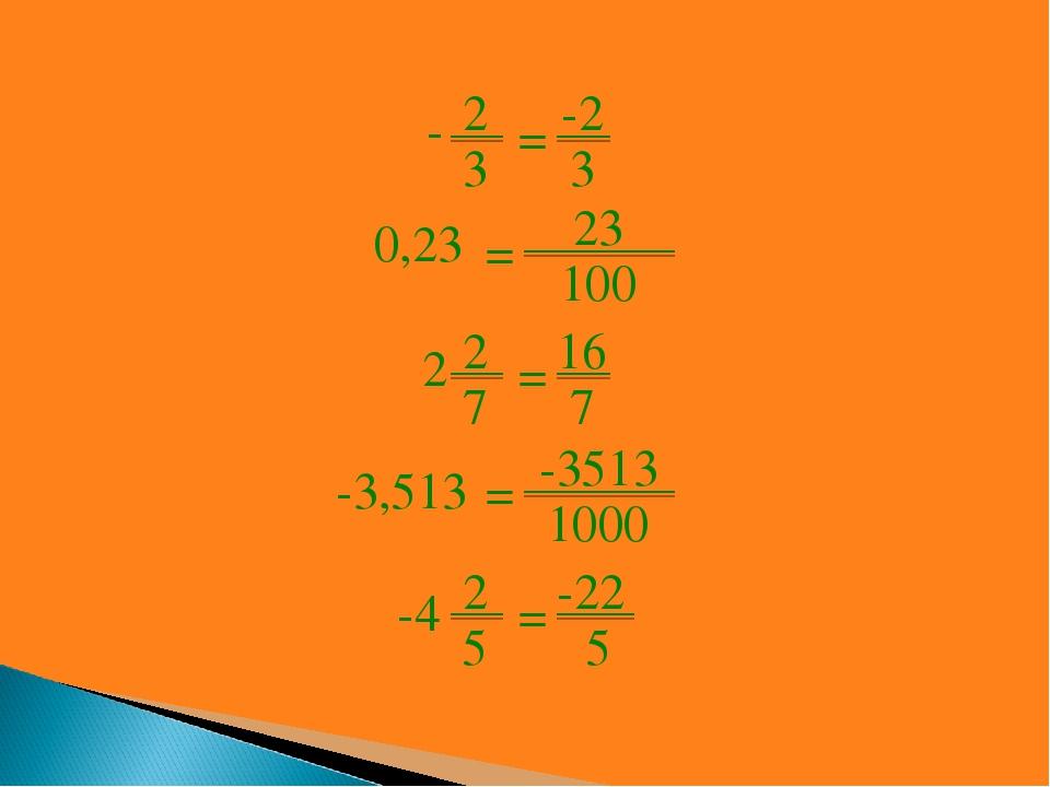 2 3 - = -2 3 = 23 100 0,23 2 7 2 = 16 7 = -3513 1000 -3,513 2 5 -4 = -22 5