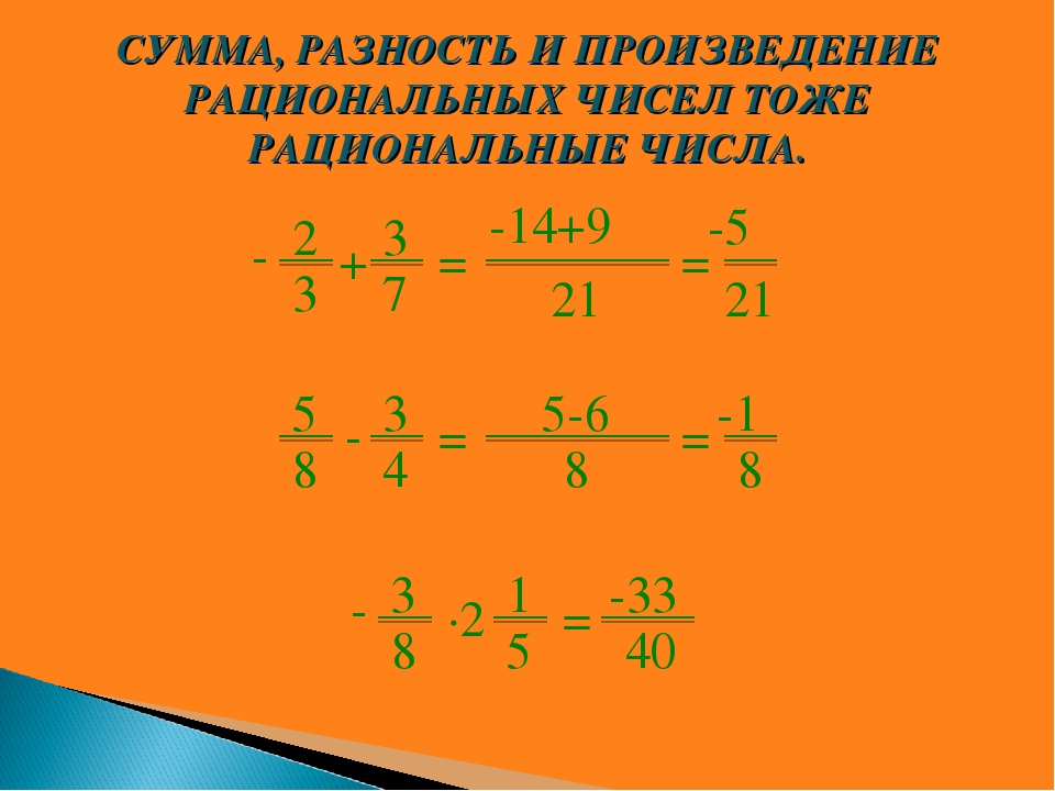 2 3 + 3 7 = -14+9 21 = -5 21 - 5 8 - 3 4 = 5-6 8 = -1 8 3 8 ∙2 1 5 = -33 40 -...