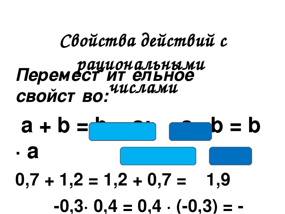 Переместительное свойство: a + b = b + a; a ∙ b = b ∙ a 0,7 + 1,2 = 1,2 + 0,7...