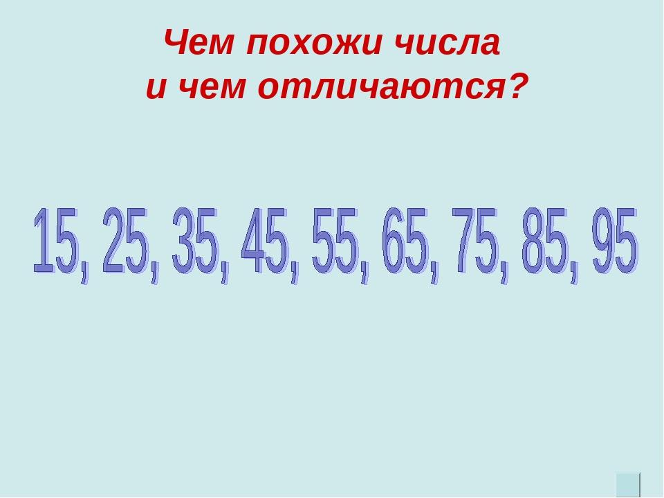 Чем похожи числа и чем отличаются?