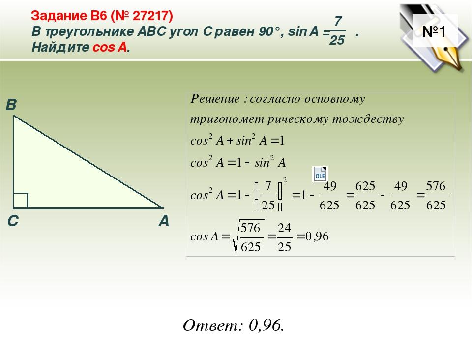 №1 Ответ: 0,96. A B C Задание B6 (№ 27217) В треугольнике ABC угол C равен 90...