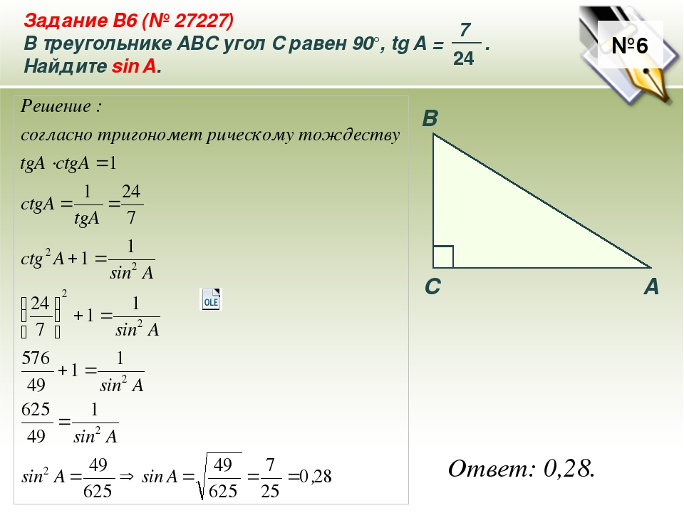 №6 Ответ: 0,28. A B C Задание B6 (№ 27227) В треугольнике ABC угол C равен 90...
